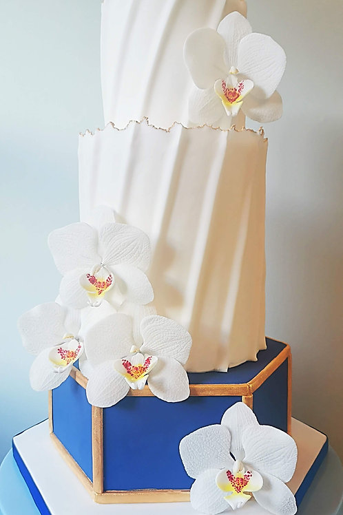 Live Video Facebook Tutorial: Elegant, Navy and White Orchid Wedding Cake
