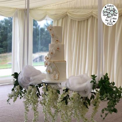 White Orchids Wedding Cake