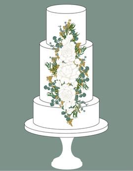 White & Gold Cake Design