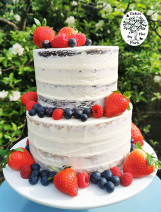 Semi-Naked cake decorated with fresh fru