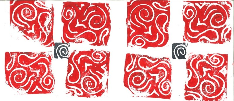 Rubber Stamp Pattern (small) - Red o