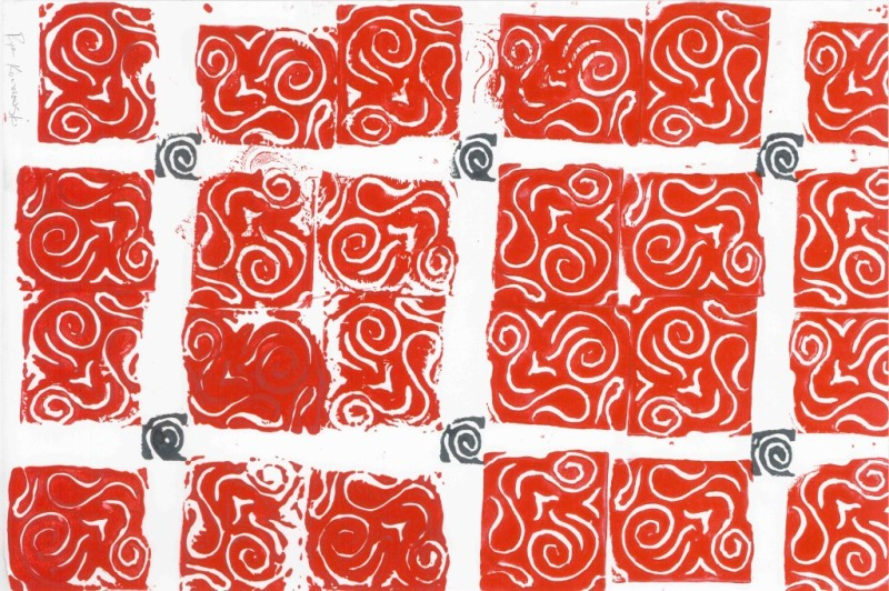 Rubber Stamp Pattern - Red on White