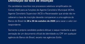 IBGE DIVULGA COMO CANDIDATOS AO PROCESSO SELETIVO PODEM RECEBER DE VOLTA TAXA DE INSCRIÇÃO