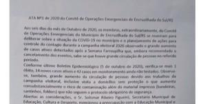 COE RECOMENDA O NÃO RETORNO ÀS AULAS E PROIBIÇÃO DE EVENTOS COM AGLOMERAÇÃO NA CAMPANHA ELEITORAL