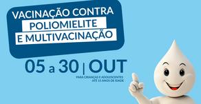 CAMPANHA NACIONAL DE VACINAÇÃO CONTRA POLIOMIELITE E ATUALIZAÇÃO DE CARTEIRA INICIA NA SEGUNDA