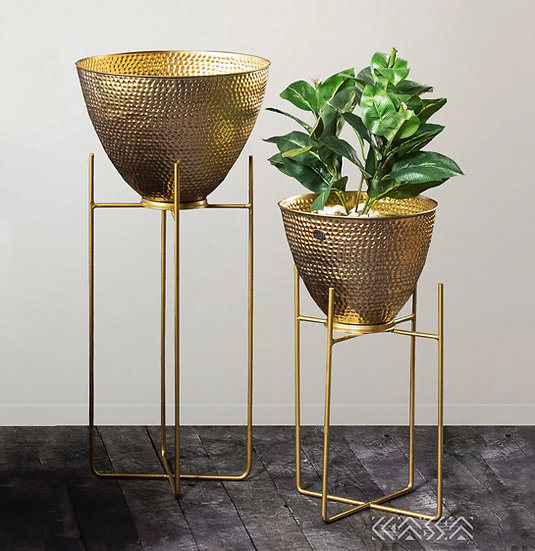 Faux Copper Hammered Planters