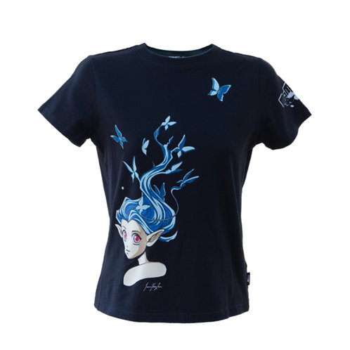 Manga Anime T-shirt Black Butterfly