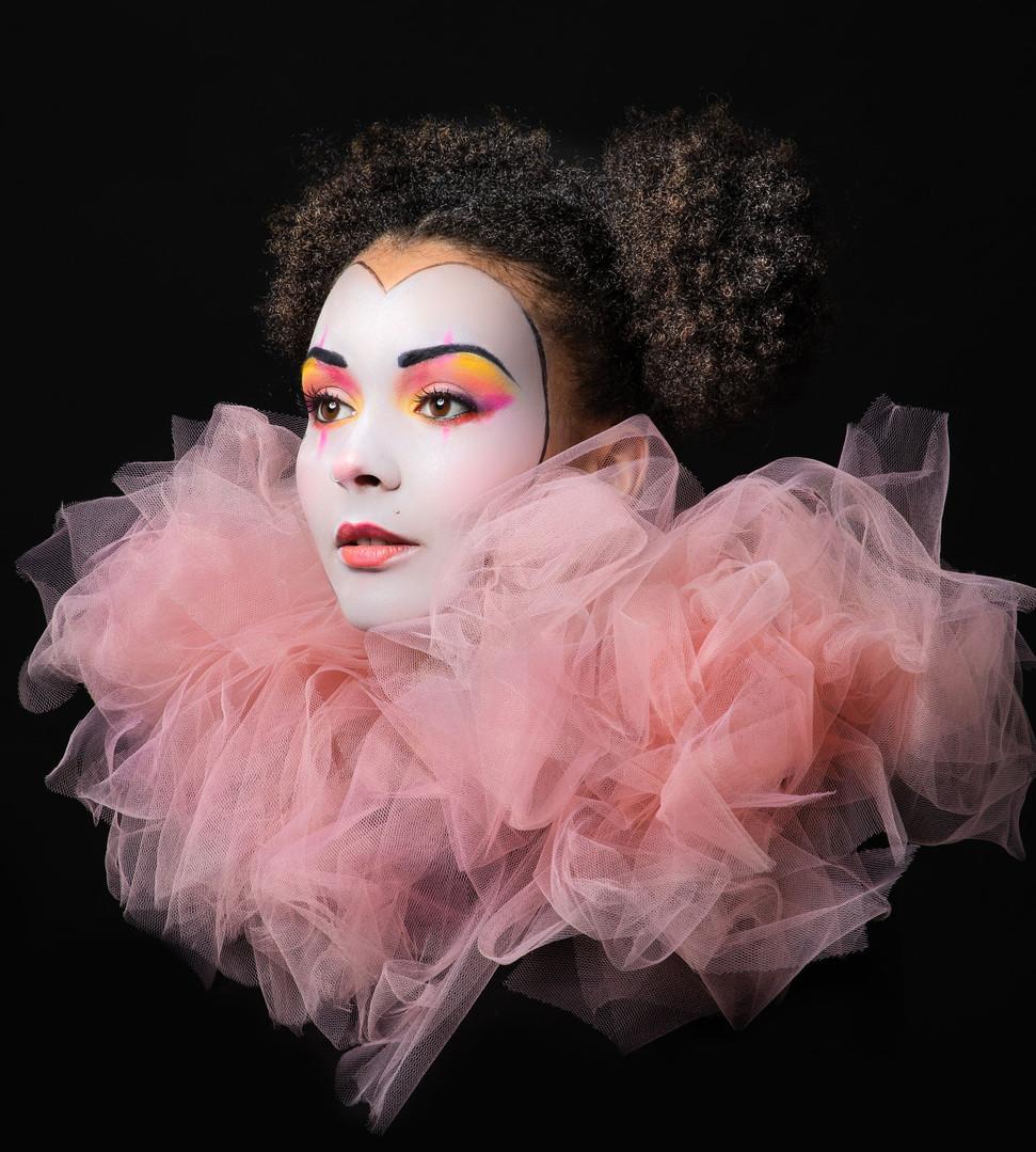 Sad clown pierot makeup photography