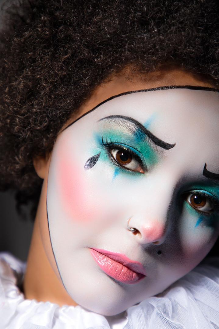 Sad clown, mime halloween photography