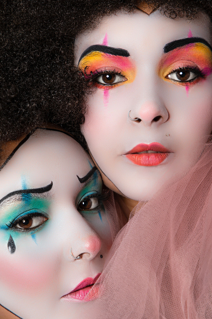 Sad clown pantomime makeup photography