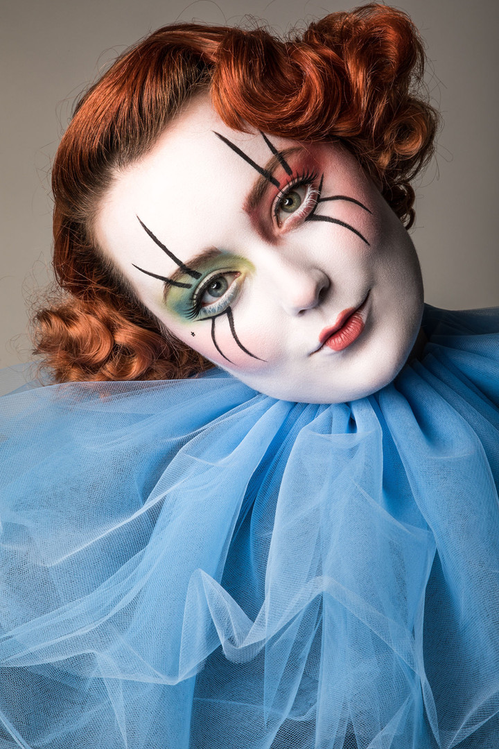 Clown professional makeup and hair photographer by Samantha Voros Photography
