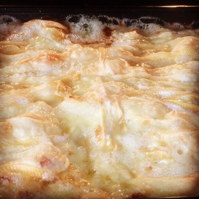 Golden #gooey #cheesy goodness _Getting ready for a photoshoot for a newspaper article__#tartiflette