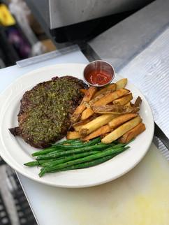 12oz Ribeye, Steak Fries, Green beans