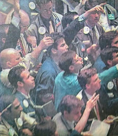In the trading pit of the America Stock Exchange