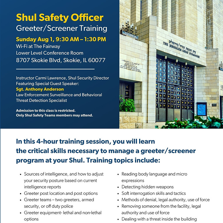 Shul Safety Officer  Greeter / Screener Training  (1)
