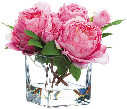 """9"""" Pink Peony in Glass Vase"""