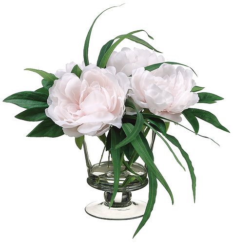 "11"" Pink Peony in Glass Vase - Monthly Rental"