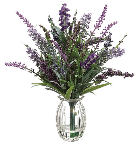 "11"" Purple Lavender in Glass Vase"