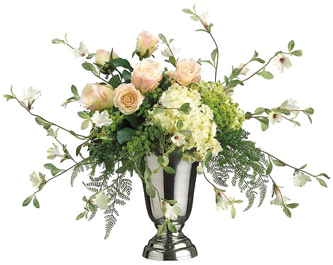 Hydrangea, Rose, and Petunia in Pedestal Vase - Monthly Rental