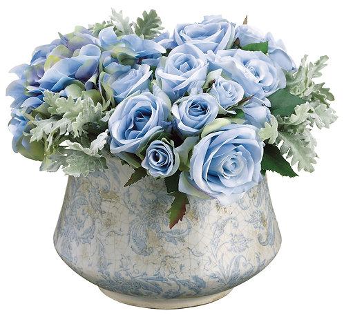 """10"""" Rose/DustyMiller/Hydrangea in TerraCotta Pot - Monthly Rental"""