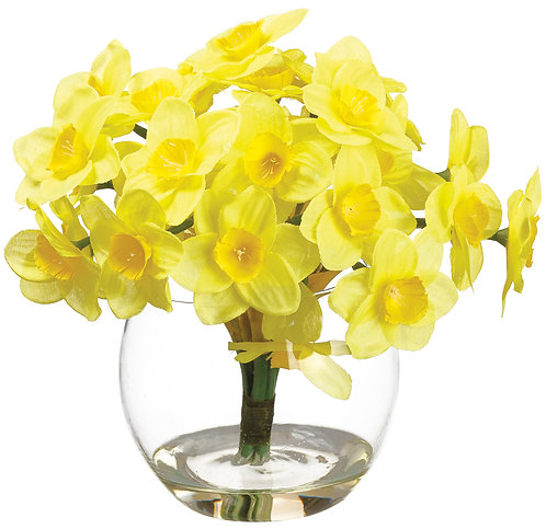 "7"" Yellow Daffodil in Glass Vase - Monthly Rental (Qty 2)"