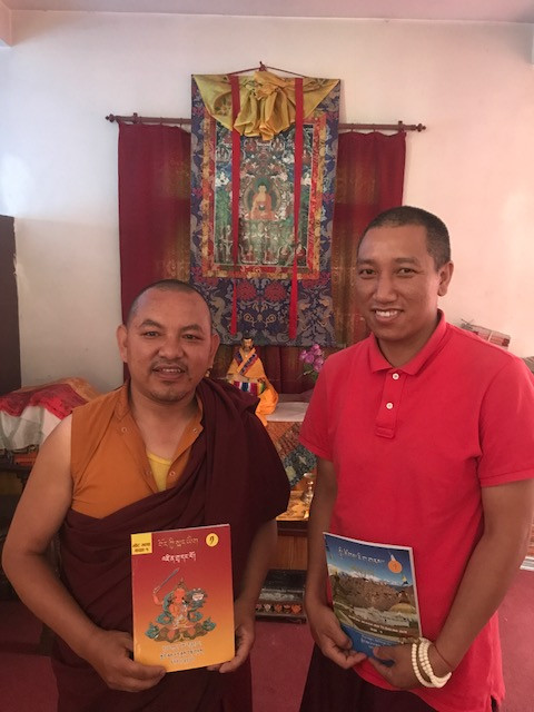 Chief textbook writers Gen Norbu Sherpa and Gen Serki Sherpa, respectively holding a Tibetan language and social science textbook