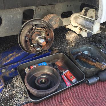 Caravan brake servicing