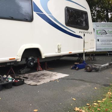 Caravan axle replacement