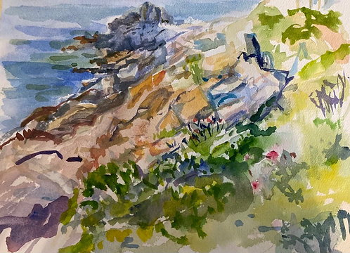 """Giant Steps, Bailey Island, Maine original watercolor giclee  8""""X10"""" giclee print with 9X11 mat and backing board."""