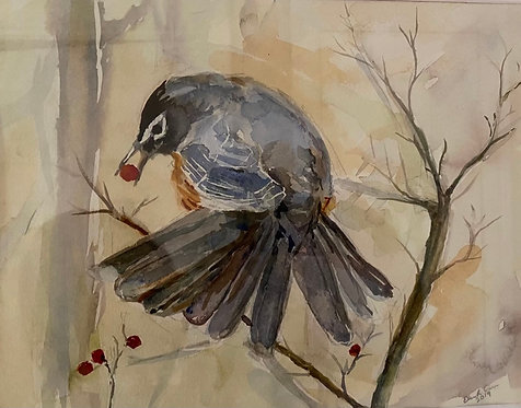 Watercolor of Robbin giclee matted print