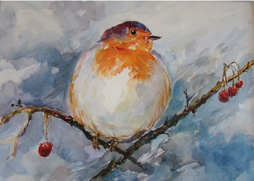 Little Bird with Attitude giclee print with mat and backing board.
