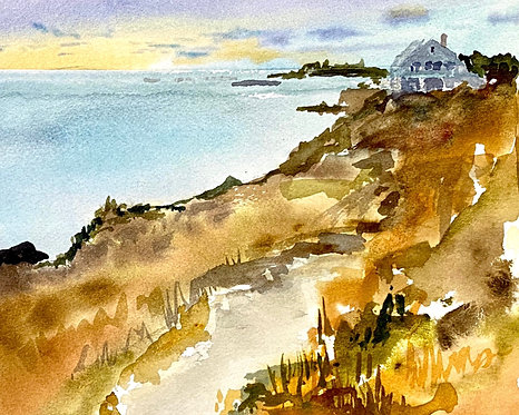 """Watercolor of Path to Giant Steps, Bailey Island, Maine. 8""""X10"""" Giclee Print."""