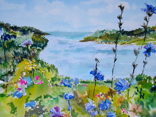 """Watercolor of Mackerel Cove, Bailey Island, Maine 8""""X10"""" matted giclee print"""