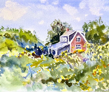 Watercolor of Bailey Island, Maine Red Cottage
