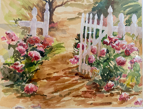 Watercolor of A Summer Garden giclee matted print