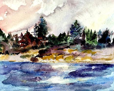 Bailey Island, Maine at Dusk Watercolor giclee print