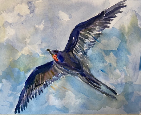 Watercolor of Flight giclee matted print