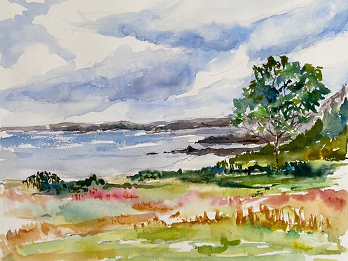 Watercolor of Bailey Island Maine Summer Day giclee matted print