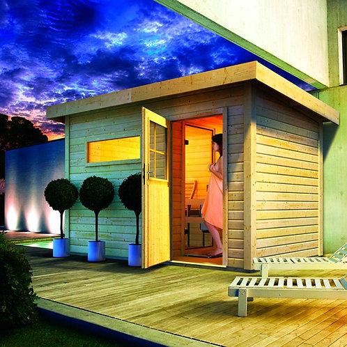 Rauma 1 Interline Sauna für den Außenbereich inkl. Zubehörset 9 kW Saunaofen, 4