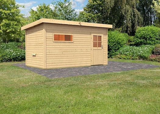 Rauma 2 Interline Sauna für den Außenbereich inkl. Zubehörset 9 kW Saunaofen, 4