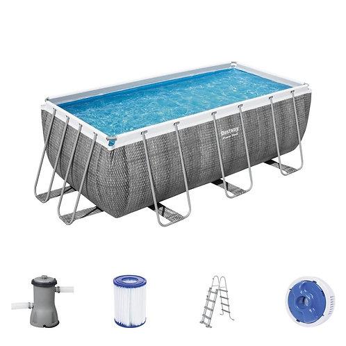 Bestway Power Steel Frame Pool Set Rattan