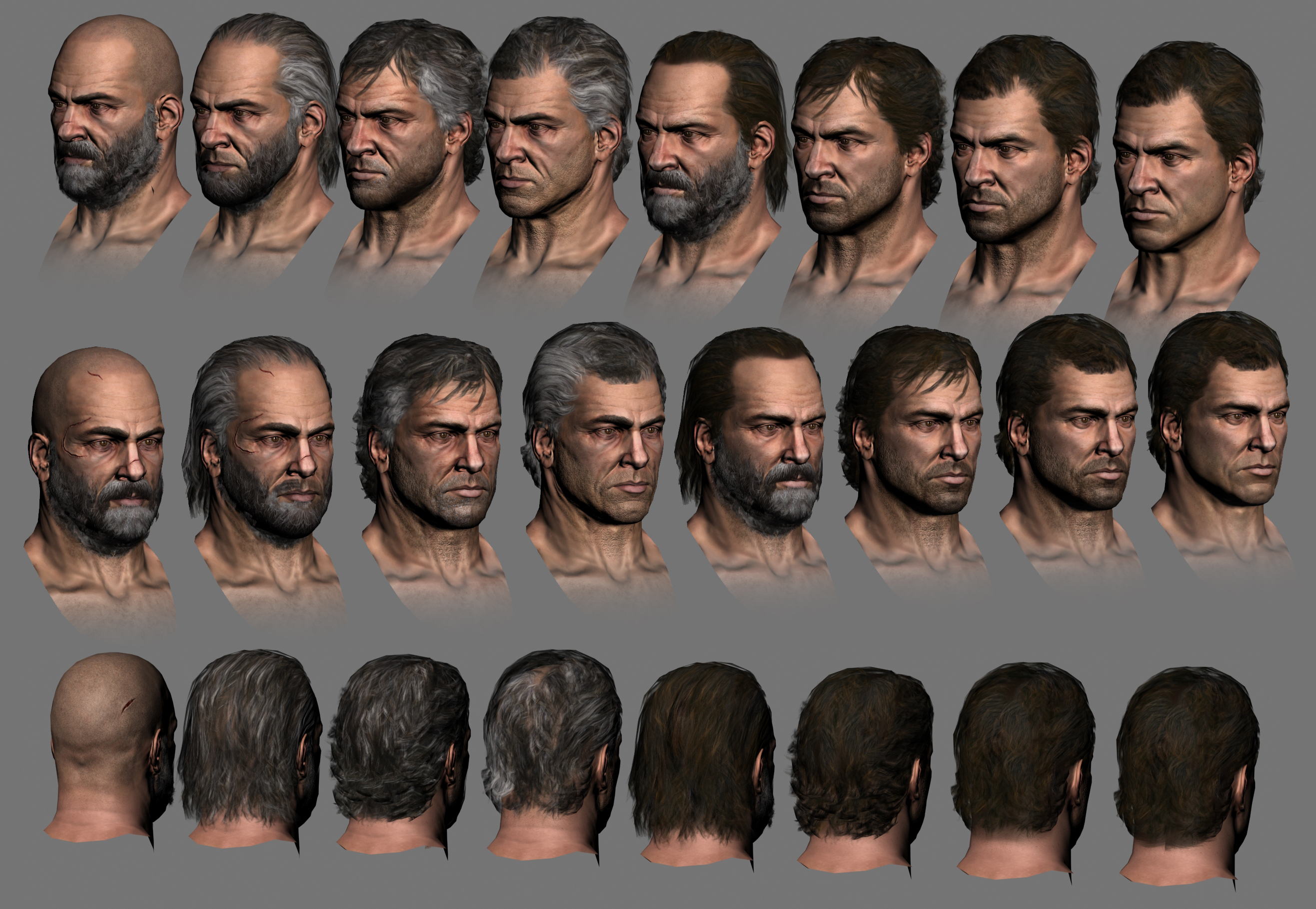 Early face and hair tests