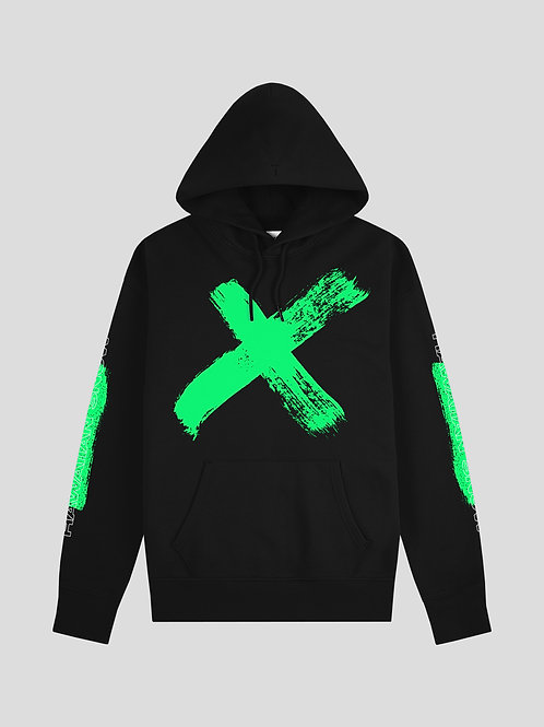Hawaiian Snow X Hoodie (Green on Black)