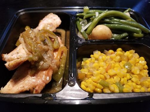 Chicken, Corn, Green beans
