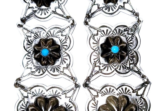 6- 3 Square concho earring with turquoise