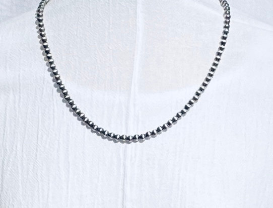 6MM MEDIUM ANTIQUED SILVER NECKLACE-PL
