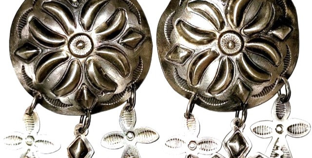 14-large round concho with dangles earring