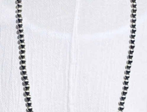 8MM LONG STERLING SILVER SINGLE STRAND NECKLACE-PL