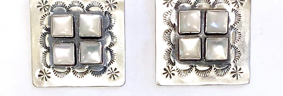 4 STONE CLUSTER SQUARE EARRINGS-MP