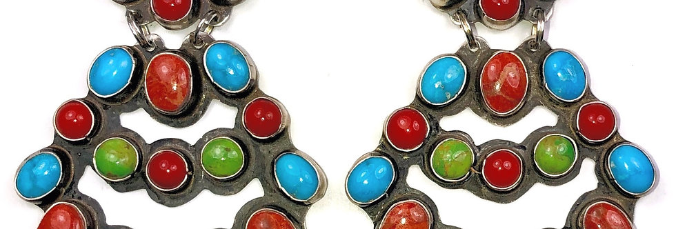 LARGE CHANDLEARRING-Multi Stone